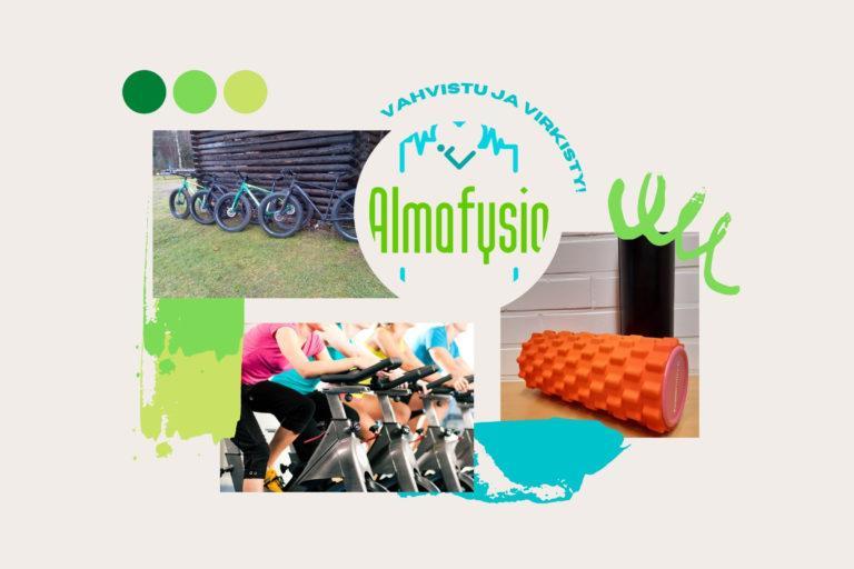Almafysion slogan, logo ja kaksi valokuvaa samassa kollaasissa. Valokuvissa on läskipyörät sekä spinningpyörät.