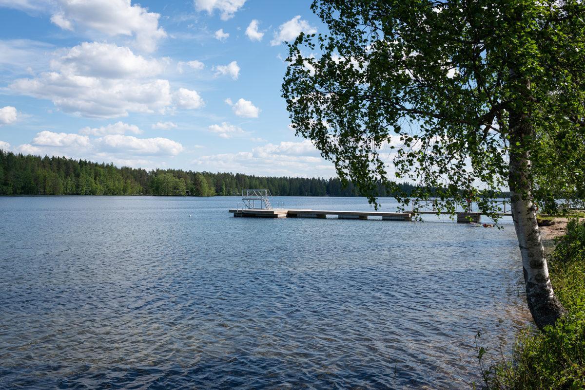 Kangasjärven rannalla kasvaa koivuja, kauemmpana näkyy laituri ja hyppytorni.
