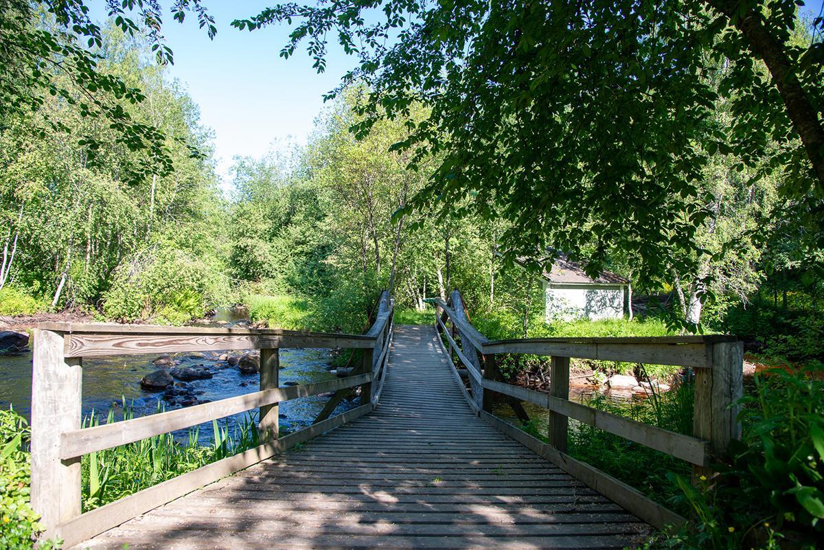 Kesäisessä maisemassa puinen silta vie joen yli. Kuva melko varjoisa.