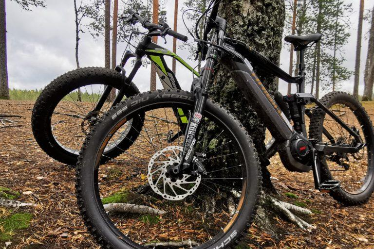 Kaksi maastopyörää nojaamassa puuhun.