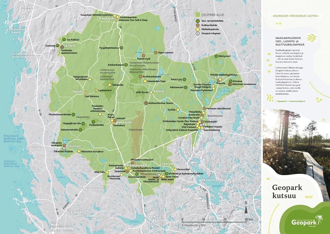 Karttakuva Geopark kutsuu -esitteestä, johon on koottu Lauhanvuori-Hämeenkangas Geoparkin geo- ja kulttuurikohteet kolmen maakunnan alueelta.