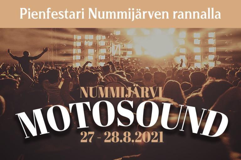 Motosound festivaalin ilmoitus. Kuvan päällä tekstiä sekä logo.