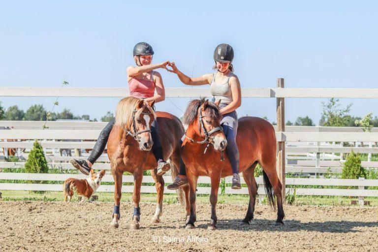 Kaksi ratsukkoa, ja kaksi ratsastajaa sekä koira.