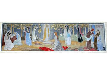 Tove Janssonin maalama alttaritaulu Kymmenen neitsyttä.