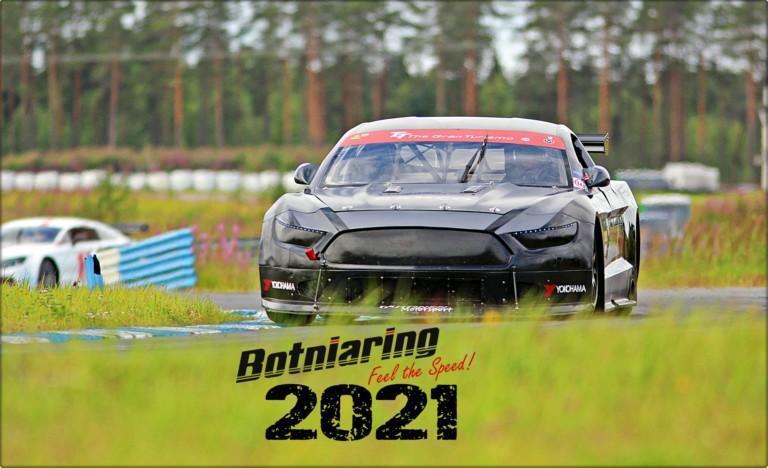 Kesäisessä kuvassa ralliauto ja kuvan päällä on teksti Botniaring 2021.