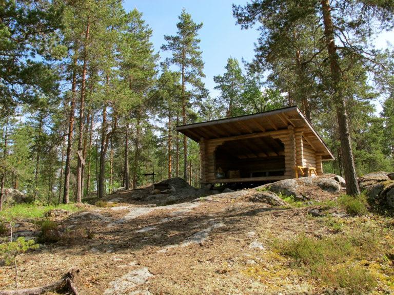 Hirsinen laavu sijaitsee mäntymetsän siimeksessä kallioisella paikalla.
