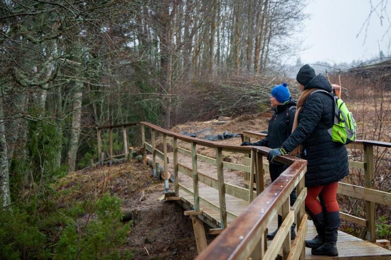 Kaksi henkilöä seisovat sillalla nojateen kaiteseen.