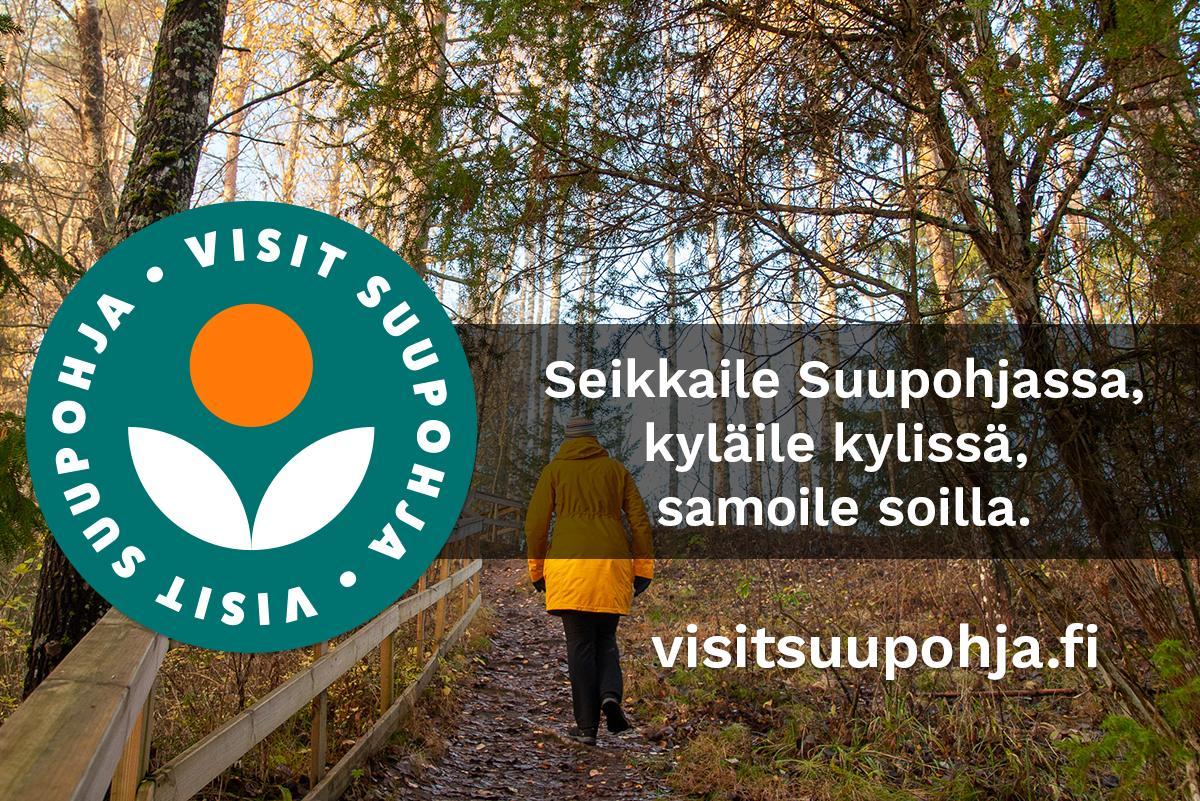 Logolla ja kärkiviestillä varustettu Visit Suupohjan markkinointikuva.