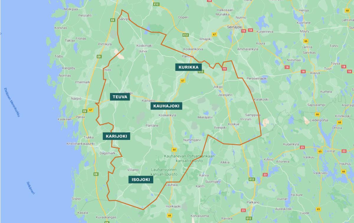 Suupohjan seudun kartta kuntarajoineen ja kuntineen. Kuntia alueella Kurikka, Kauhajoki, Karijoki, Isojoki ja Teuva